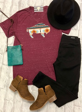 Burgundy Serape Buffalo T-Shirt