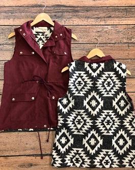 Burgundy Aztec Back Cargo Vest