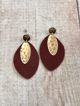 Wine Feather Earrings With Gold Detail