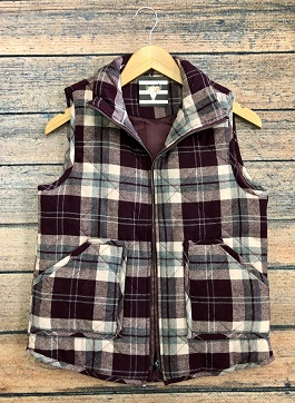 Burgundy Plaid Puffer Vest