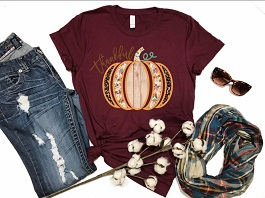 "Burgundy ""Thankful"" Floral Pumpkin T-Shirt"