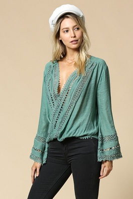 """Mystic Girl"" Jade Crochet Trim Long Sleeve Top"