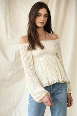 """""""Loving You Well"""" Lace Long Sleeve Smocked Top"""