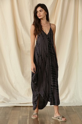 """Molly"" Charcoal Tie Dye Maxi Dress"