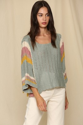 """""""Beckett"""" Sage Multi Colored Wide Arm Sweater"""