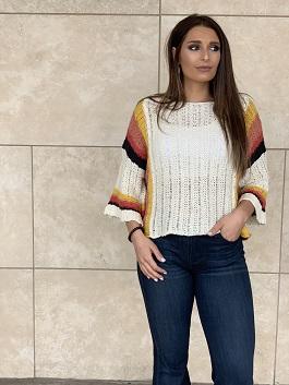 """Santa Fe Sunset"" Wide Arm Color Block Strip Arm Sweater"