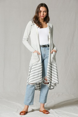 """Simple Day"" Striped Asymmetrical Long Duster"