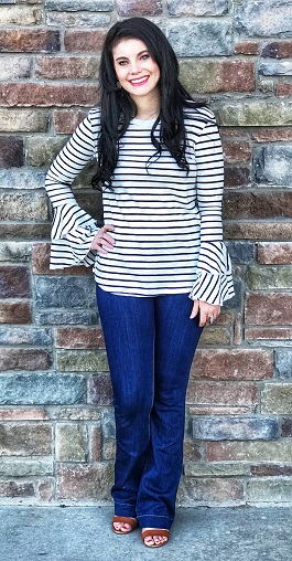 """Lined Love"" Striped LS Tiered Bell Sleeve Top"