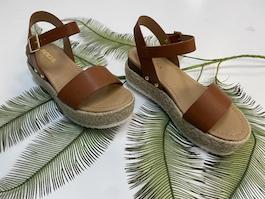 Brown Leather Like Espadrille Sandal