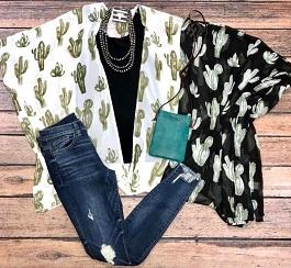 """Desert Vibes"" Cactus Printed Kimono"