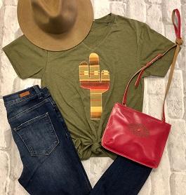 Olive Cactus Serape T-Shirt