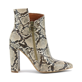 Snake Skin Bootie With Zipper Detail
