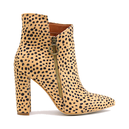 Cheetah Heeled Bootie With Zipper Detail