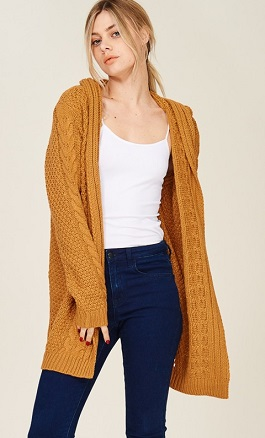 """Stevie"" Camel Cable Knitted Hooded Cardigan"