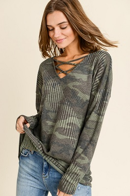 """Camilla"" Camouflage Criss Cross LS Top"
