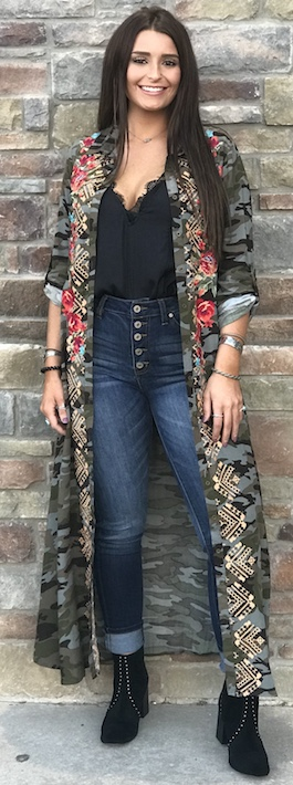 """Fleetwood"" Camo Floral Embroidered Tunic/Cardigan"