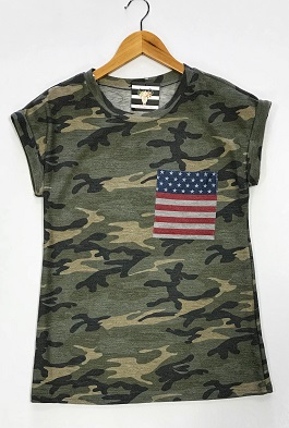 Camo T-Shirt With Flag Pocket