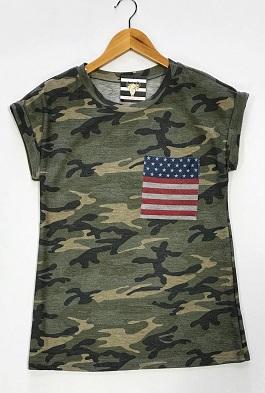 Camo T-Shirt With Flag Pocket