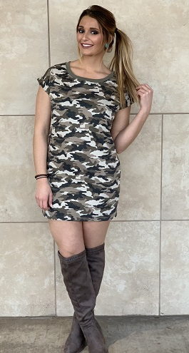"""Find Me"" Camoflauge T-Shirt Dress With Pockets"