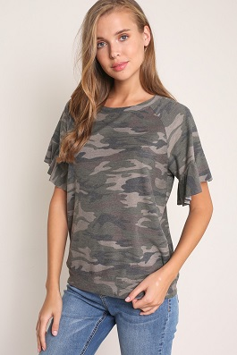 """Cami"" Camouflage Ruffle Sleeve Top"
