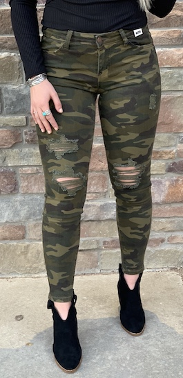 Camo Distressed Skinnies