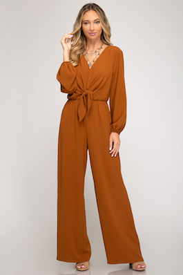 """First Name Basis"" Caramel Long Sleeve Tie Front Jumpsuit"