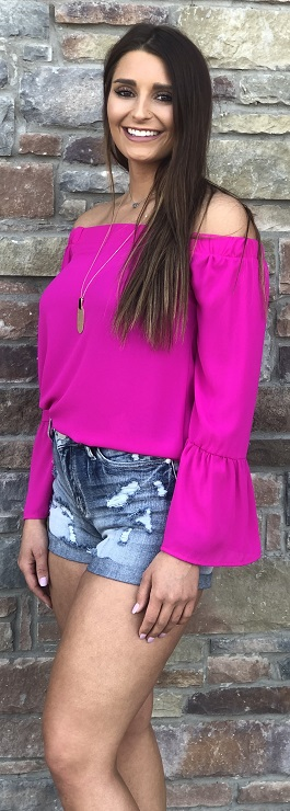 """Look At You"" Berry Pink Off Shoulder Top"