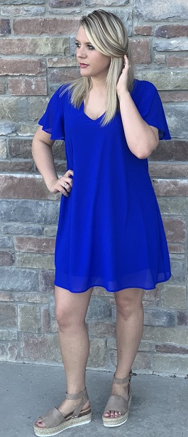 """Spring Fling"" Royal Blue Flutter Sleeve Dress"
