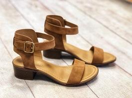 Tan Buckle Heel Sandal