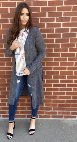 """Spring Stroll"" Charcoal Knitted Cardigan With Slits"