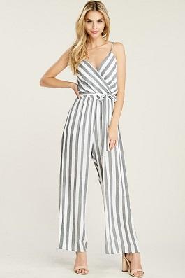 """""""Set Sail"""" Black & White Striped Pant Jumpsuit"""