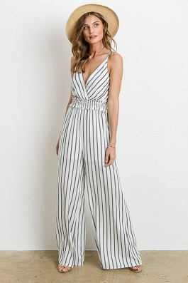 """Saturday Sun"" White/Black Striped Cross Over Jumpsuit"