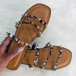 Cheetah Studded Jelly Flat Sandal