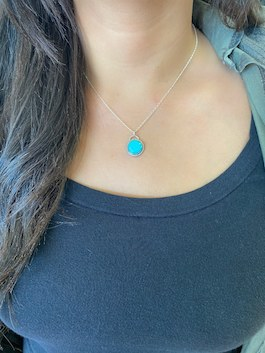 Genuine Turquoise Circle Drop Necklace
