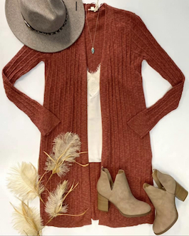 """""""Classiscally Yours"""" Rust Light Weight Knit Cardigan"""