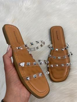 Clear Studded Jelly Sandal
