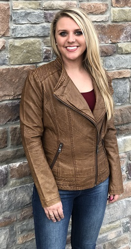 Camel Bomber Vegan Leather Jacket