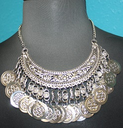 Bohemian Silver Coin Plated Necklace