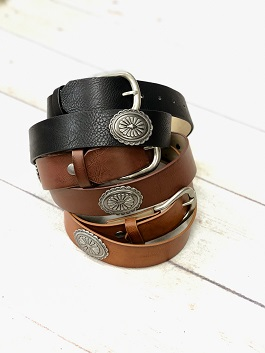 Genuine Leather Belt With Concho Detail