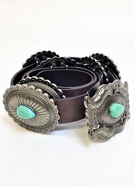 Silver & Turquoise Concho Belt