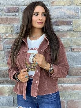 """Senora"" Rust Corduroy Cropped Jacket"