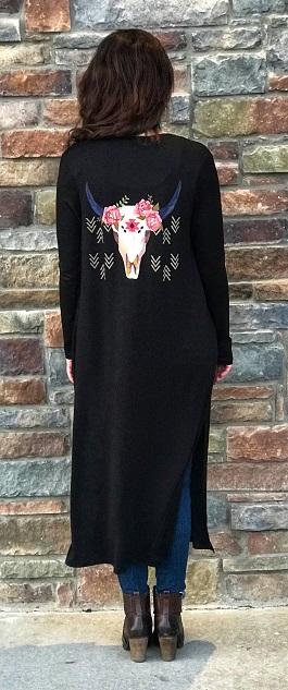 """""""Lassoed Love"""" Floral Bull Skull Black Kimono"""