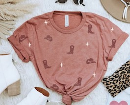 """""""Cowgirl"""" Mauve Graphic T-Shirt"""