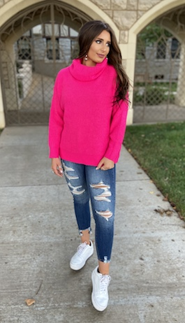 """Cozy As Can Be"" Fuchsia Thick Ribbed Oversized Sweater"
