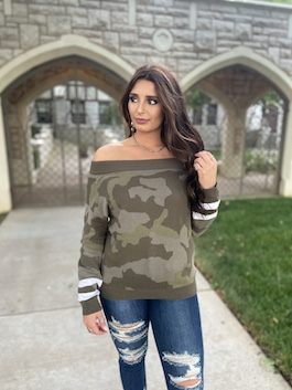 """Cozy While Hiding"" Camouflage Pullover Sweater"