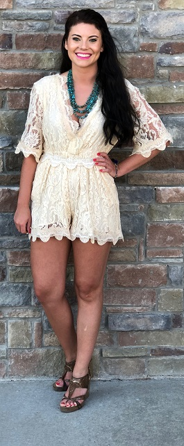 """Fleetwood"" Cream Scalloped Lace Tie Romper"