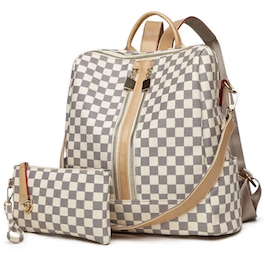 Cream Luxe Checkered Backpack Set