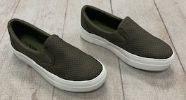 Olive Leather Like Sneaker