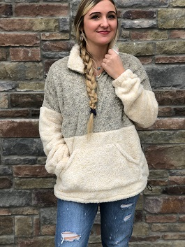 """""""Snuggle Up"""" 2 Tone Taupe & Olive Soft Pullover"""