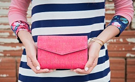 Hot Pink Mini Envelope Style Purse(7434-PINK)